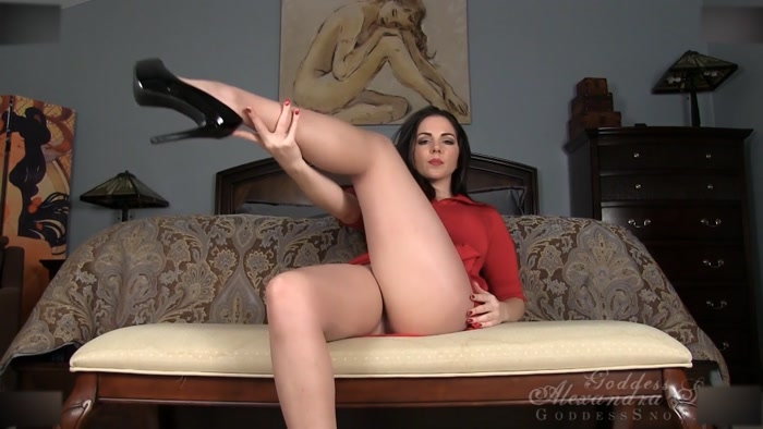 Goddess Alexandra Snow - Red Lingerie and Nude Pantyhose