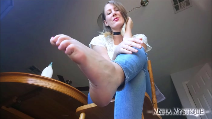 Misha Mystique - Foot Fetish Barefoot in Jeans Lotion Tease